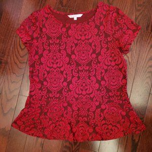Red/Black Peplum Blouse